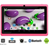 """Tagital T7X 7"""" Quad Core Android 4.4 KitKat Tablet PC, Bluetooth, Dual Camera, Google Play Store, 2016 Newest Model (Pink)"""