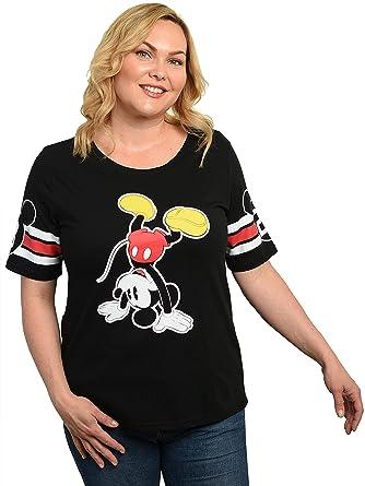 5d23b0f0b2 Disney Women's T-Shirt Junior Plus Size Front Back Print (1X, Mickey Black