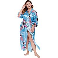 BABEYOND Women's Plus Size Kimono Robe Long Robes with Peacock and Blossoms Printed Plus Size Kimono Outfit