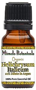 Miracle Botanicals Organic Helichrysum Italicum Essential Oil - 10% Dilute of Italian Helichrysum Italicum in Virgin Golden Argan Oil - 10ml or 30ml/1oz Sizes - Therapeutic Grade - 10ml