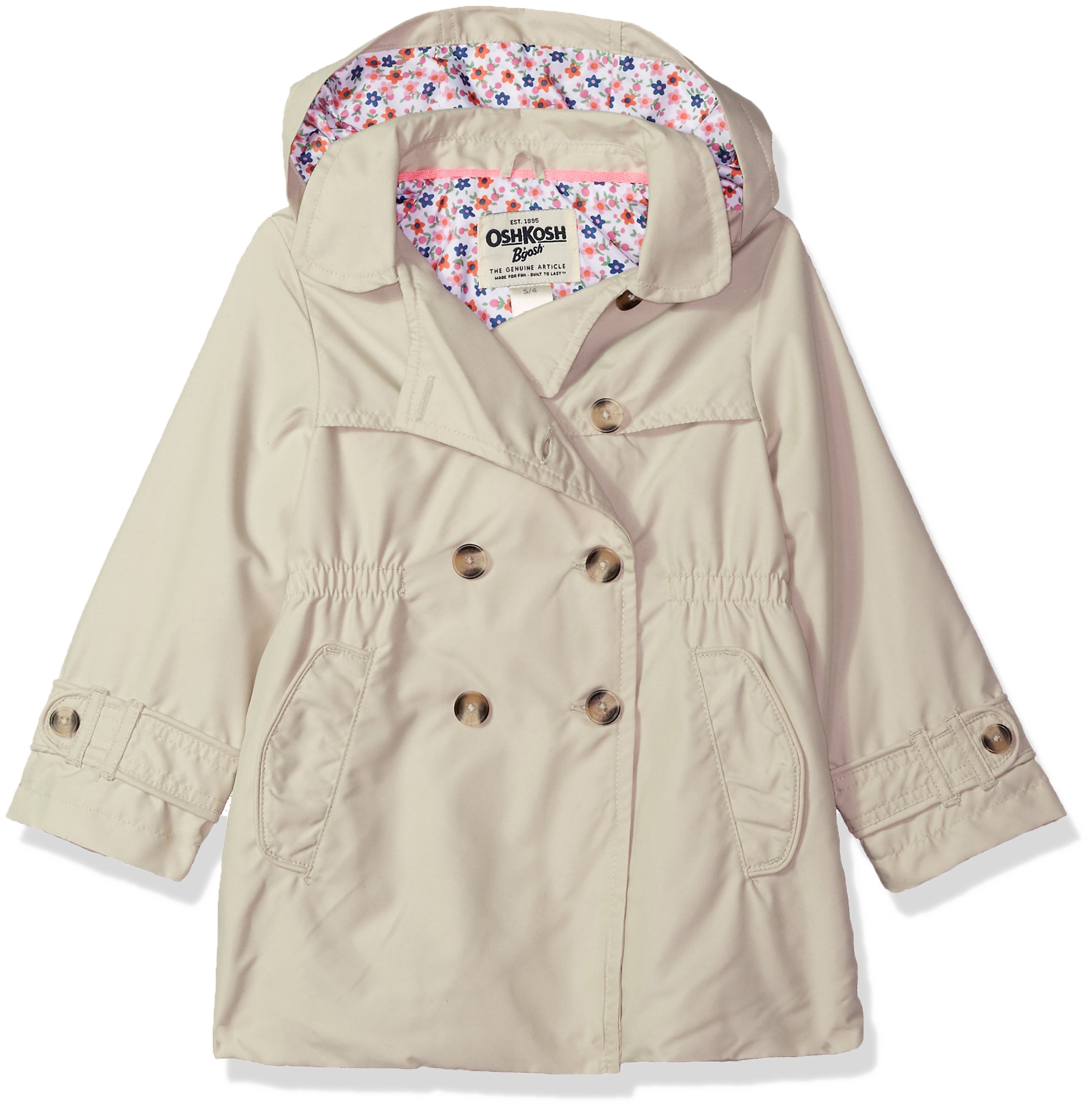 OshKosh B'Gosh Osh Kosh Toddler Girls' Hooded Trench Coat, Khaki Pebble, 3T