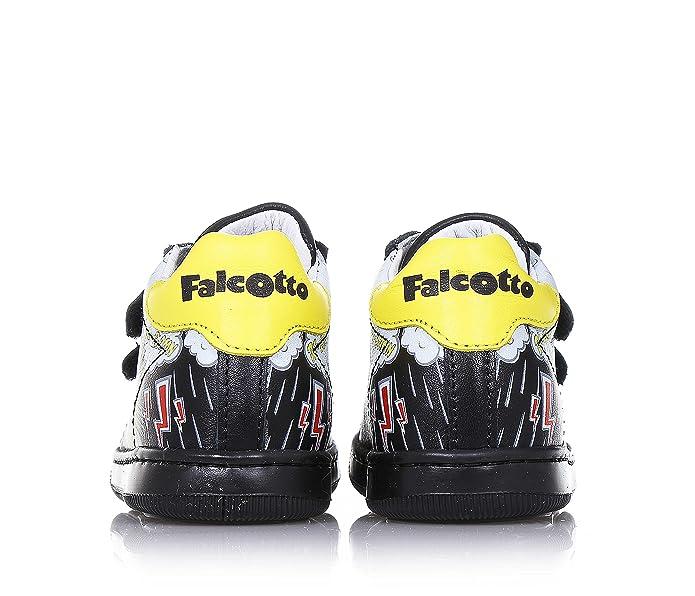 Falcotto - Zapato Negro de Cuero, con Cierre de Velcro, Parte Frontal de Caucho, con Estampados Decorativos Laterales, Logo Trasero y en la Lengüeta, Niño, Niños-21