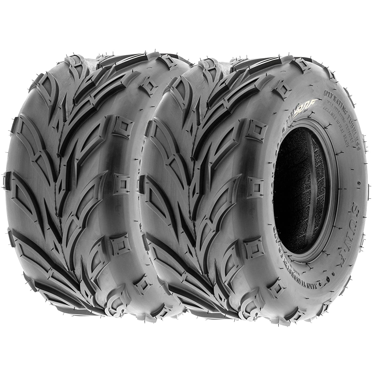 Pair of 2 SunF A004 ATV UTV 19x7-8 AT off-road Tires, Trail & Track, 6 PR, Tubeless
