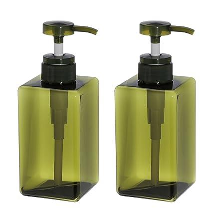 Dispensador de jabón de plástico para baño, cocina, botella cuadrada vacía para desinfectante de