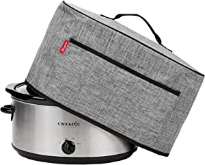 NICOGENA Slow Cooker Dust Cover with Handle and Front Pocket for Crock Pot 6-8 Quart, Waterproof fabric with Easy to Wipe Lining, Grey
