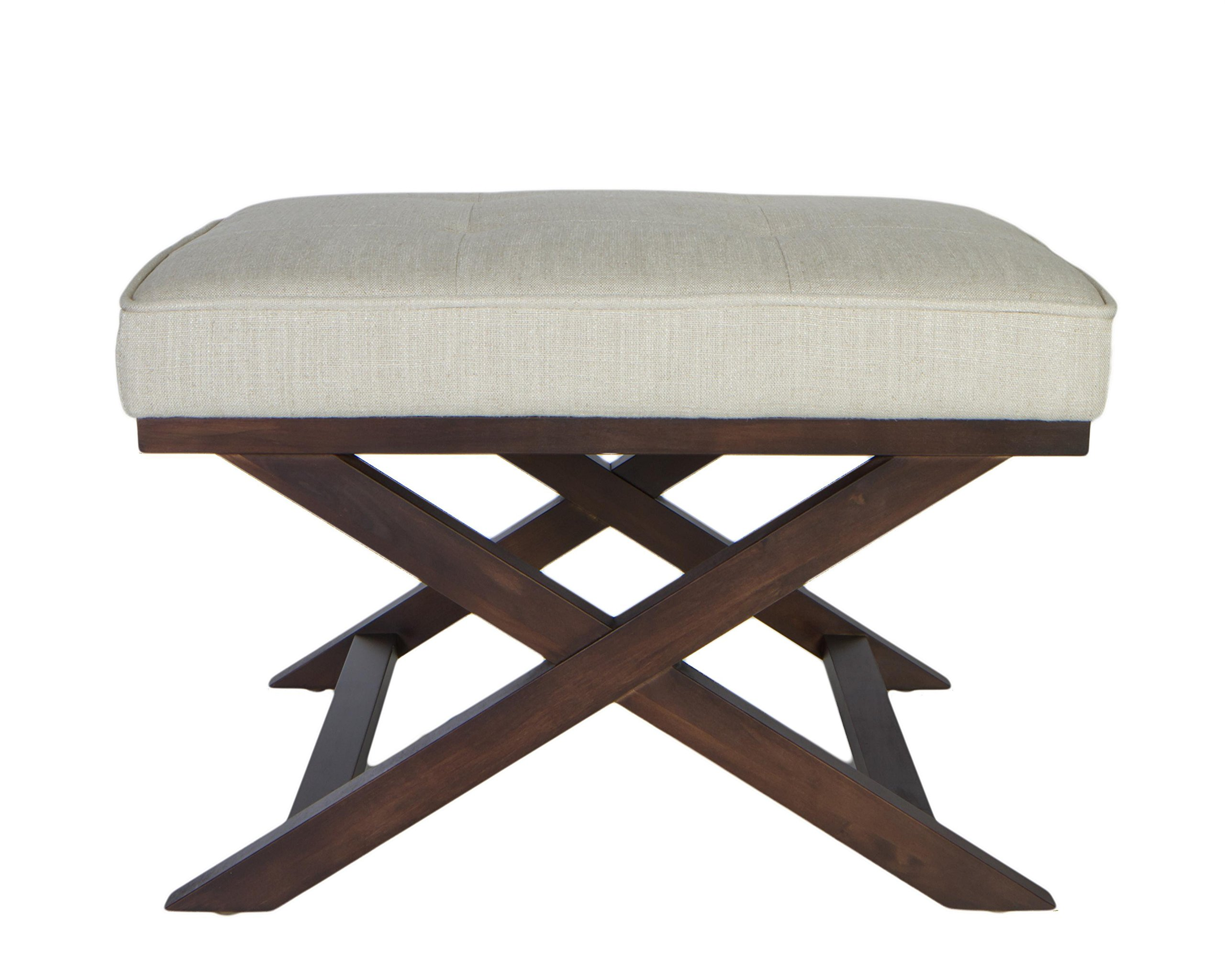 Cortesi Home OT168333 Ari ''X'' Bench in Linen Fabric with Walnut Wood Legs, Beige