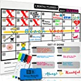 Magnetic Dry Erase Calendar for Refrigerator [17x12]& Weekly Magnetic Calendar | Monthly Whiteboard Wall Calendar and Fridge Board Planner | Dry Erase Markers & Eraser | 2019 Home or Office