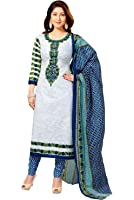 Vaamsi Women's  Salwar Suit Dress Material(Cocp111 _White _Free Size)