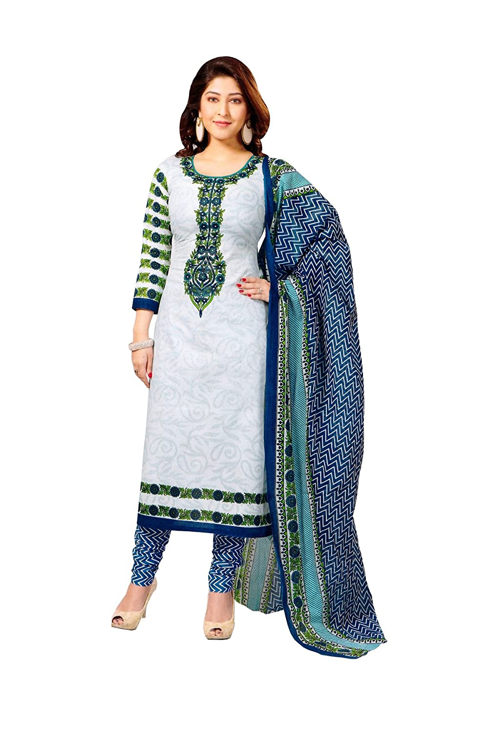 Buy Vaamsi Women's Salwar Suit Dress Material(Cocp111 _White _Free ...