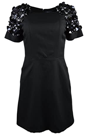 French Connection Women's Short Sleeve Embellished Sheath Dress Black 6