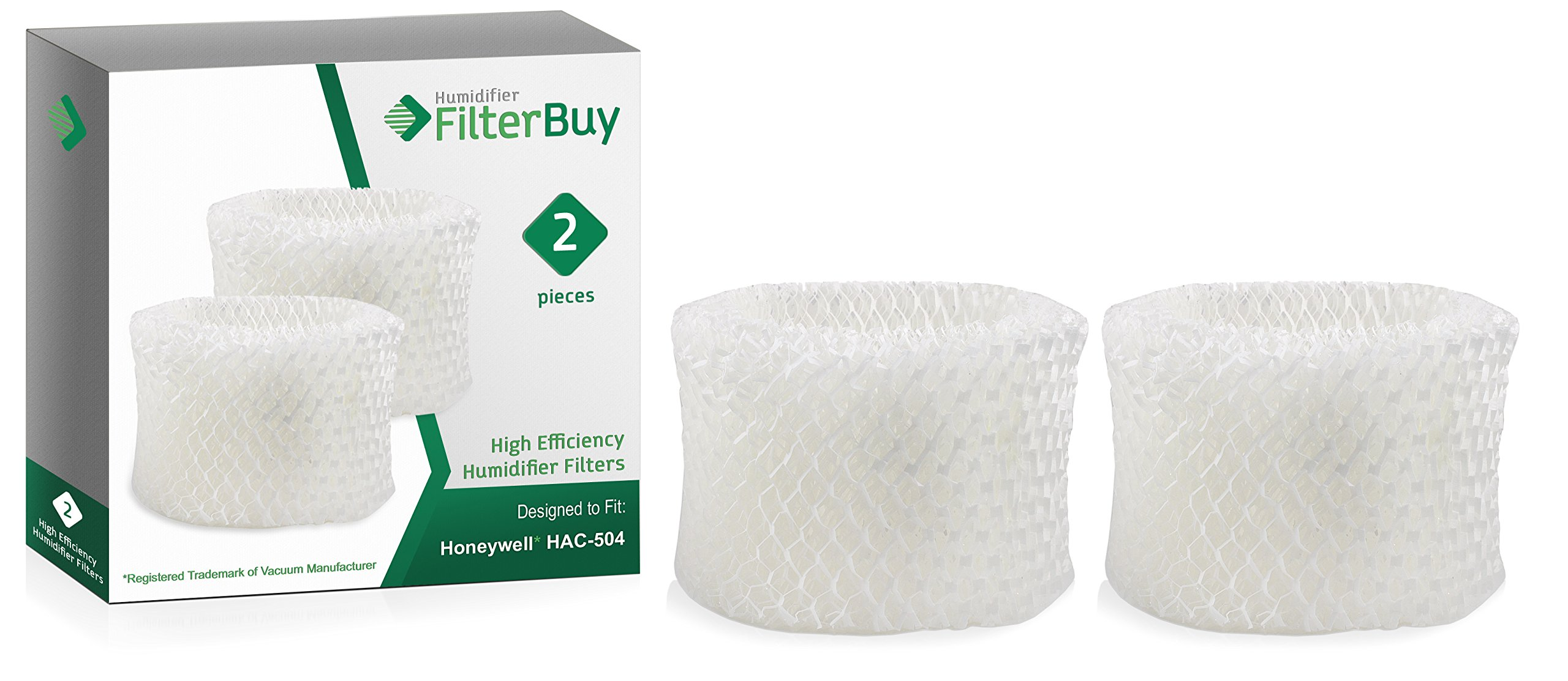 FilterBuy Honeywell HAC-504AW Compatible Humidifier Filters (Pack of 2). Designed to fit Honeywell HCM-600, HCM-710, HCM-300T & HCM-315T. Compare to Part # HAC-504AW / HAC-504 by FilterBuy