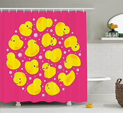 Ambesonne Rubber Duck Shower Curtain Set Fun Baby Duckies Circle Artsy Pattern Kids Bath Toys