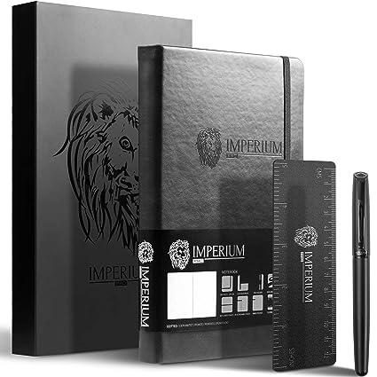Cuaderno Notebook Punteado Negro A5 Imperium Pro | Set con Bloc de Notas de Piel Sintética, Tapa Dura, Bolígrafo, Marcadores y Regla | Numerado, Sin ...