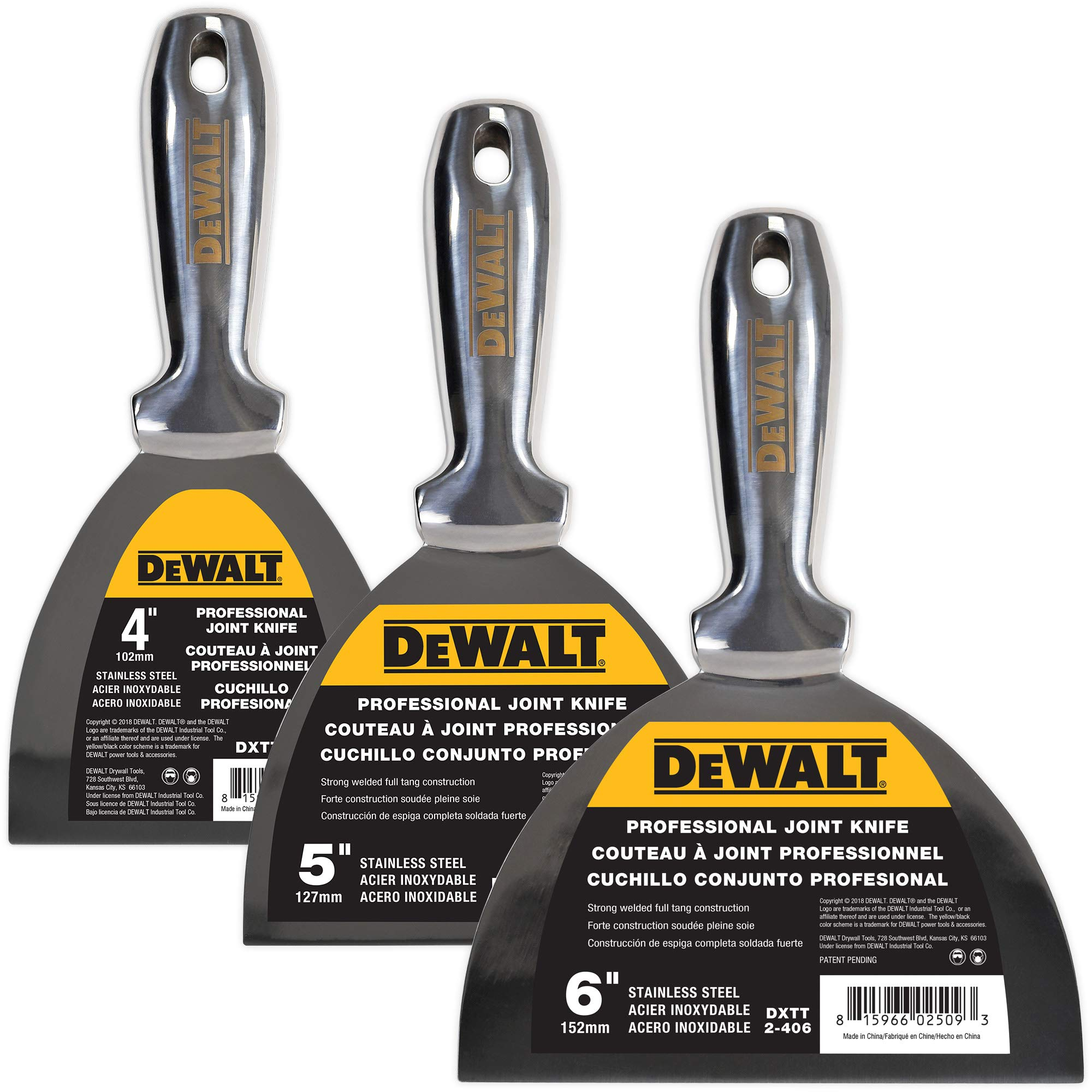 DEWALT One Piece Stainless Steel Joint Knife 3-Pack | Professional Grade Putty Blade, Premium Polished All-Metal, Precision Ground Edge, Ergonomic, Corrosion Resistant, Outstanding Durability | 3-450 by DEWALT