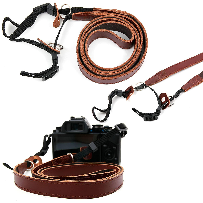 DURAGADGET 軽量 本革 ブラウンレザー ヴィンテージ ネックショルダーベルト 長さ調節可能 - Nikon DL 24-500 ブリッジカメラに対応 B01M18GUA4