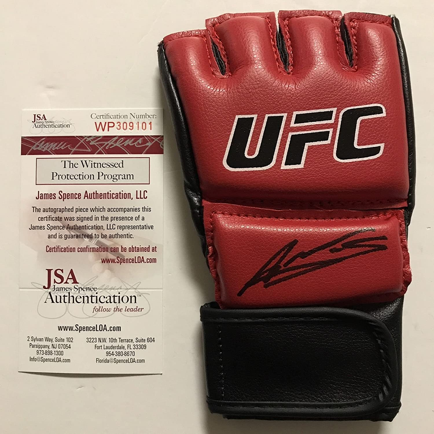 Autographed/Signed Amanda Nunes Bantamweight Champion Red UFC MMA Glove Ultimate Fighting JSA COA