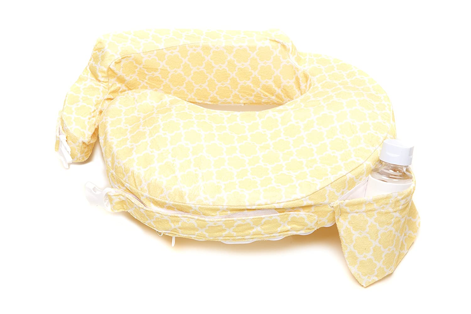 My Brest Friend Nursing Pillow Deluxe Slipcover, Flower Key, Yellow, White Zenoff Products 465