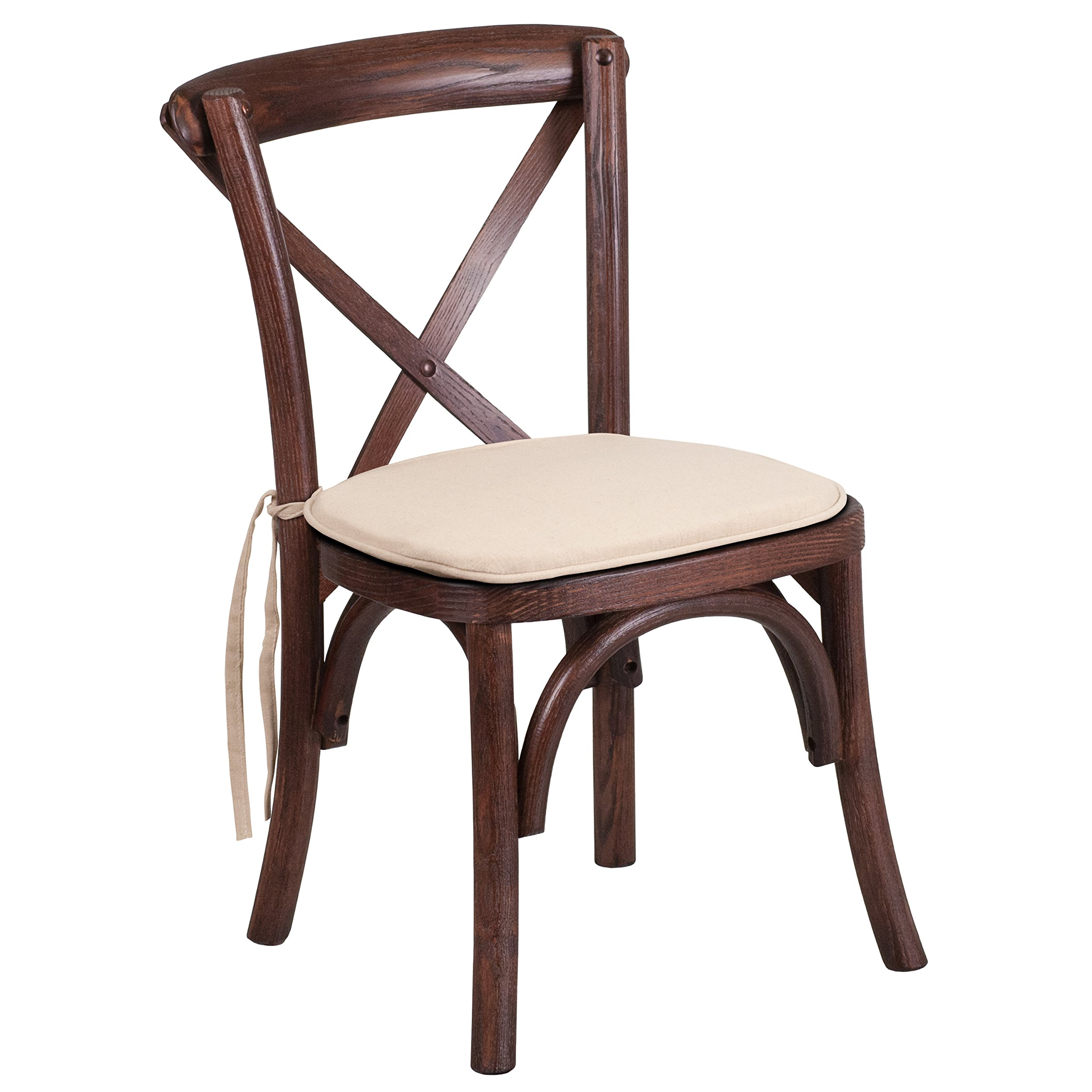 Flash Furniture HERCULES Series Stackable Kids Mahogany Wood Cross Back Chair with Cushion