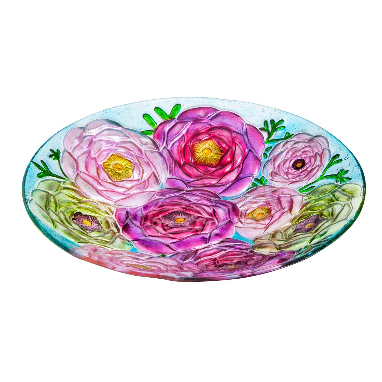 Evergreen Bouquet of Flowers Glass Bird Bath Bowl