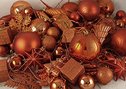 125 piece club pack of shatterproof burnt orange christmas ornaments - Orange Christmas Decorations