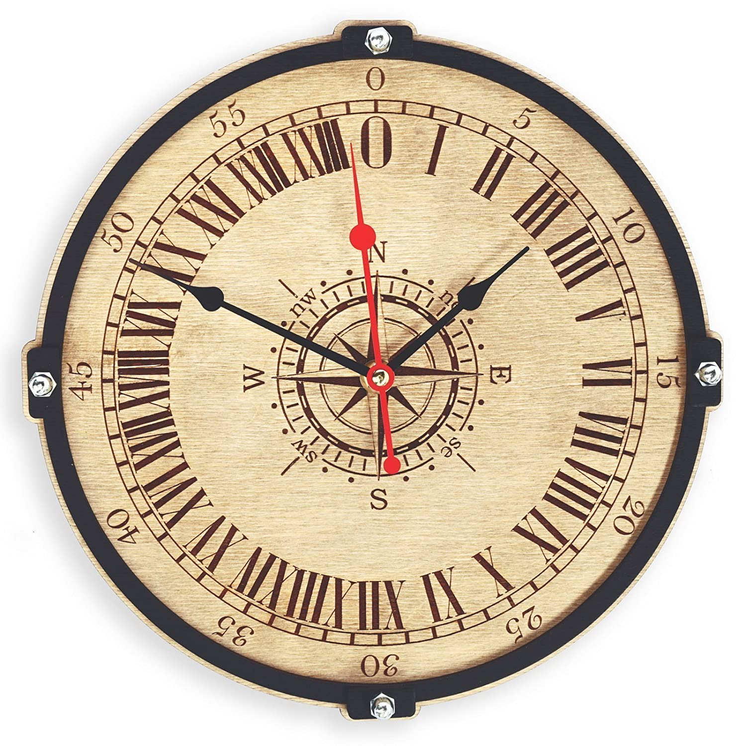 Amazon.com: Wind Rose compass HANDCRAFTED 24 hours wooden wall clock ...