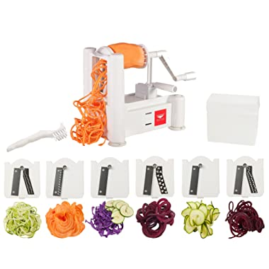 Paderno World Cuisine 6-Blade Vegetable Slicer / Spiralizer, Counter-Mounted and includes 6 Different Stainless Steel Blades