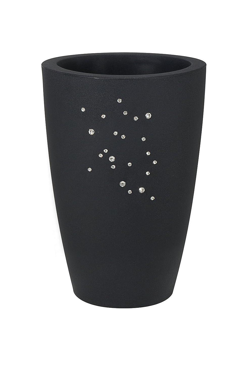 Blumentopf / Pflanztopf Nicoli Tylus mit original Swarovski Kristallen, Motiv Constellation, Ø40 cm, Höhe 53 cm, anthrazit, matt, 17 l Inhalt, für Innen und Außen, aus hochwertigem Polyethylen