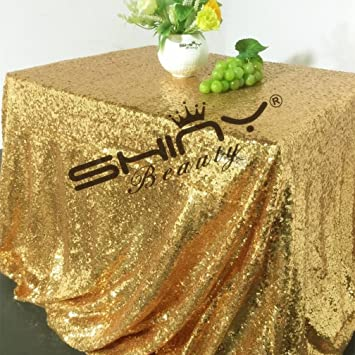 ShinyBeauty Sequin Tablecloth Gold 80x120 Inch Rectangle Sparkly Fabric  Wedding Tablecloth,Sequin