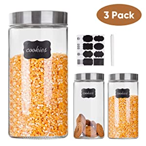 Glass Storage Canister Jars with Stainless Steel Lids For The Kitchen,Set of 3,57 oz