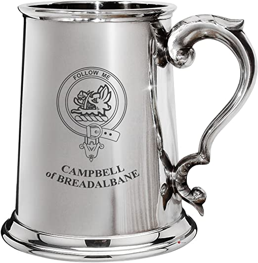 Campbell Clan Crest Tankard 1 Pint Pewter