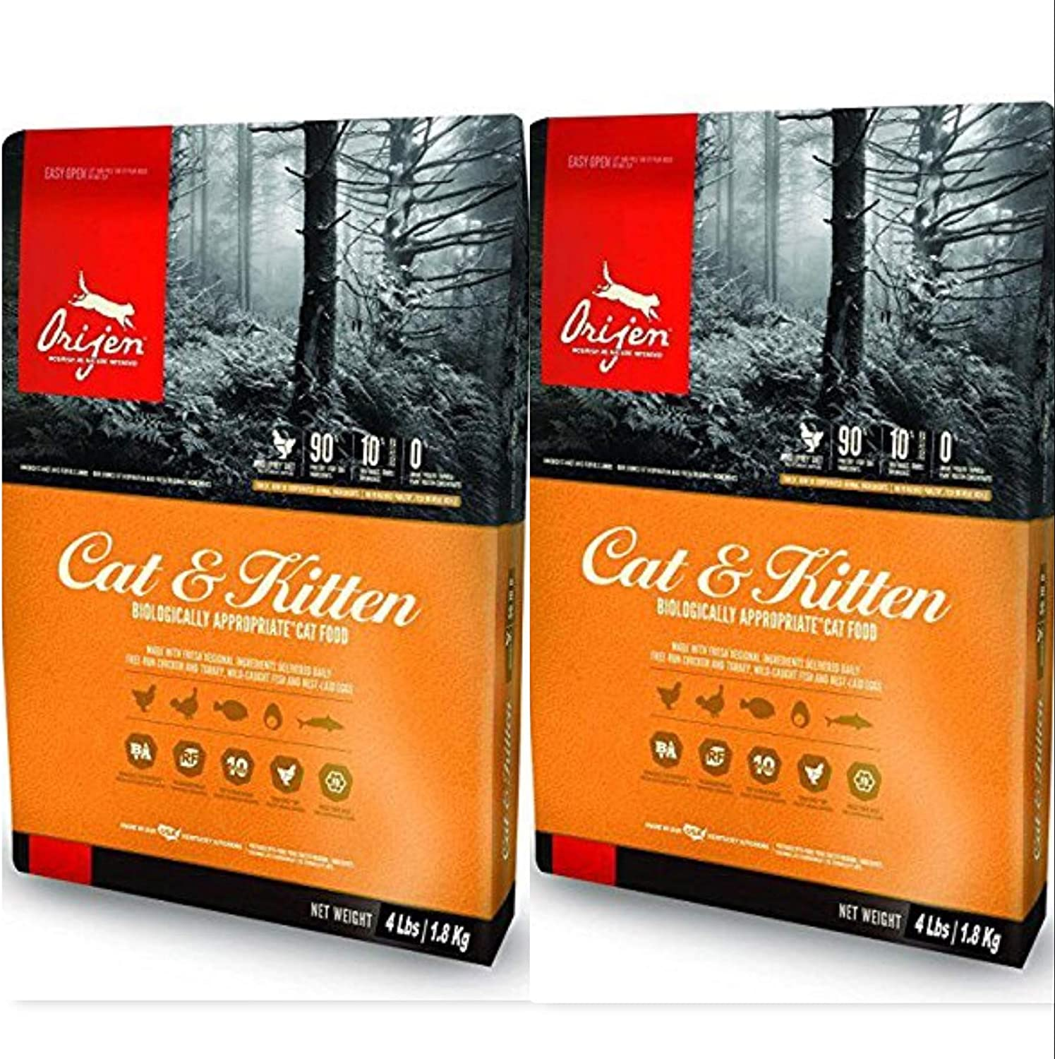 Orijen Dry Cat and Kitten Food 4 Pound Bags. (2 Pack) Biologically Appropriate Cat Food 8 Pounds Total
