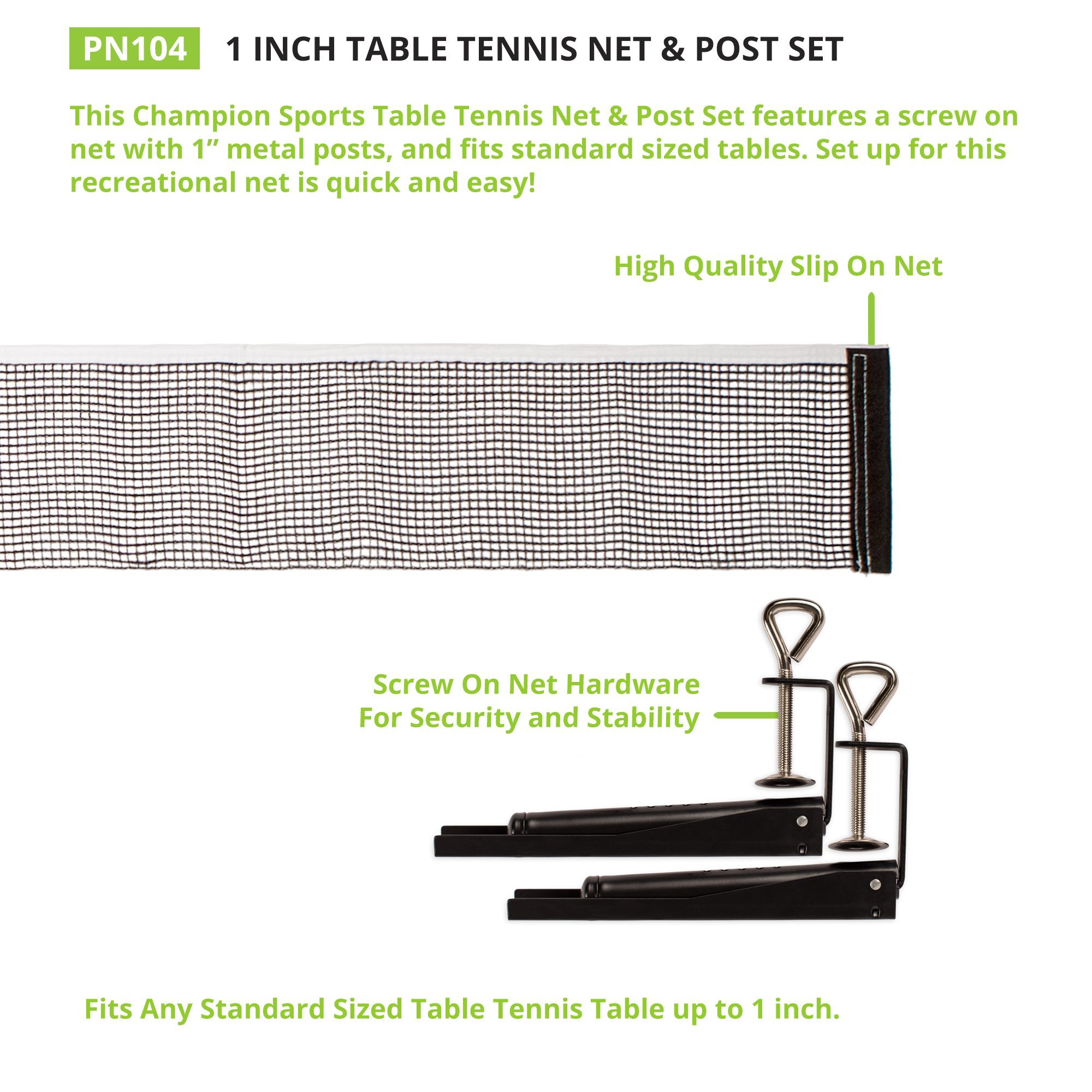 Champion Sports Table Tennis Net & Post Set, 1'' by Champion Sports (Image #1)