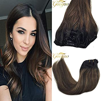 Amazon Com Googoo Clip In Hair Extensions Black Ombre To Light
