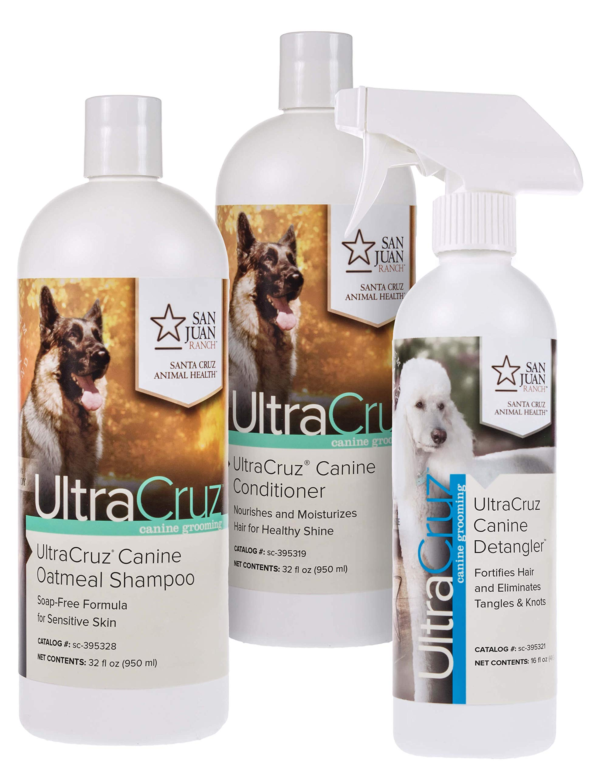 UltraCruz Canine Oatmeal Dog Shampoo & Conditioner Bundle, 32 oz Each with 16 oz Detangler by UltraCruz