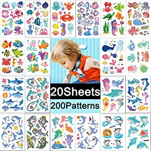 Temporary Tattoos for Kids 20 Sheets Sea Animal Fake Tattoo Stickers for Boys Girls Cute Shark Fish Turtle Jellyfish Crab Temp Tattoo Papers for Body Hand Face Arm Leg Decorations Summer Beach Fashion