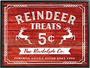 The Stupell Home Décor Collection Reindeer Treats Vintage Sign Oversized Framed Giclee Texturized Art, 16 x 20