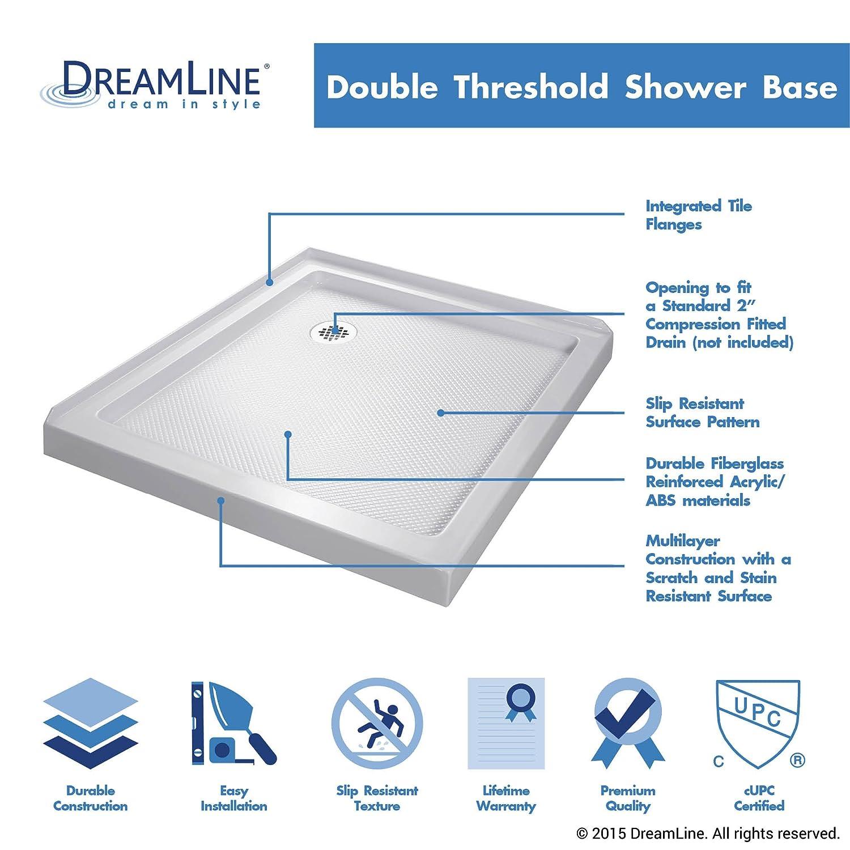 DreamLine SlimLine 36 In. X 60 In. Double Threshold Shower Base, Right Hand  Drain, DLT 1036602   Shower Bases   Amazon.com