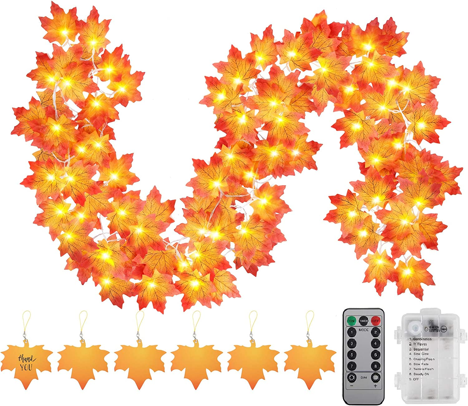 Thanksgiving Decorations Fall Garland String Lights with Timer and Remote, 50 LED 16.4Ft Lighted Autumn Leaves Garlands Decor, Battery Operated Fall Lights for Home Decoration Party Indoor Mantle
