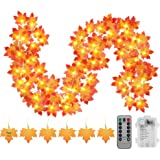 Thanksgiving Decorations Fall Garland String Lights with Timer and Remote, 50 LED 16.4Ft Lighted Autumn Leaves Garlands…