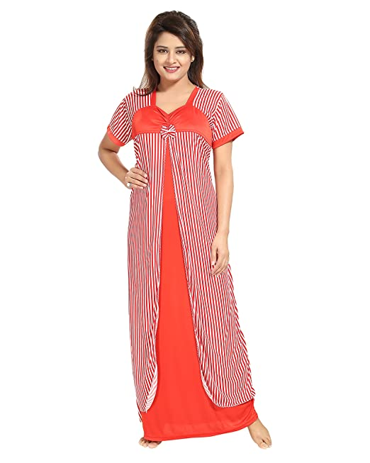 TUCUTE Women Beautiful Line Print with Bow Nighty Night Gown Night Dress  (Free 5be9de86d