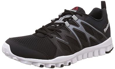 the best attitude ab28f 687b2 Reebok Men s Realflex Train 4.0 Black, Flat Grey and White Multisport  Training Shoes - 11