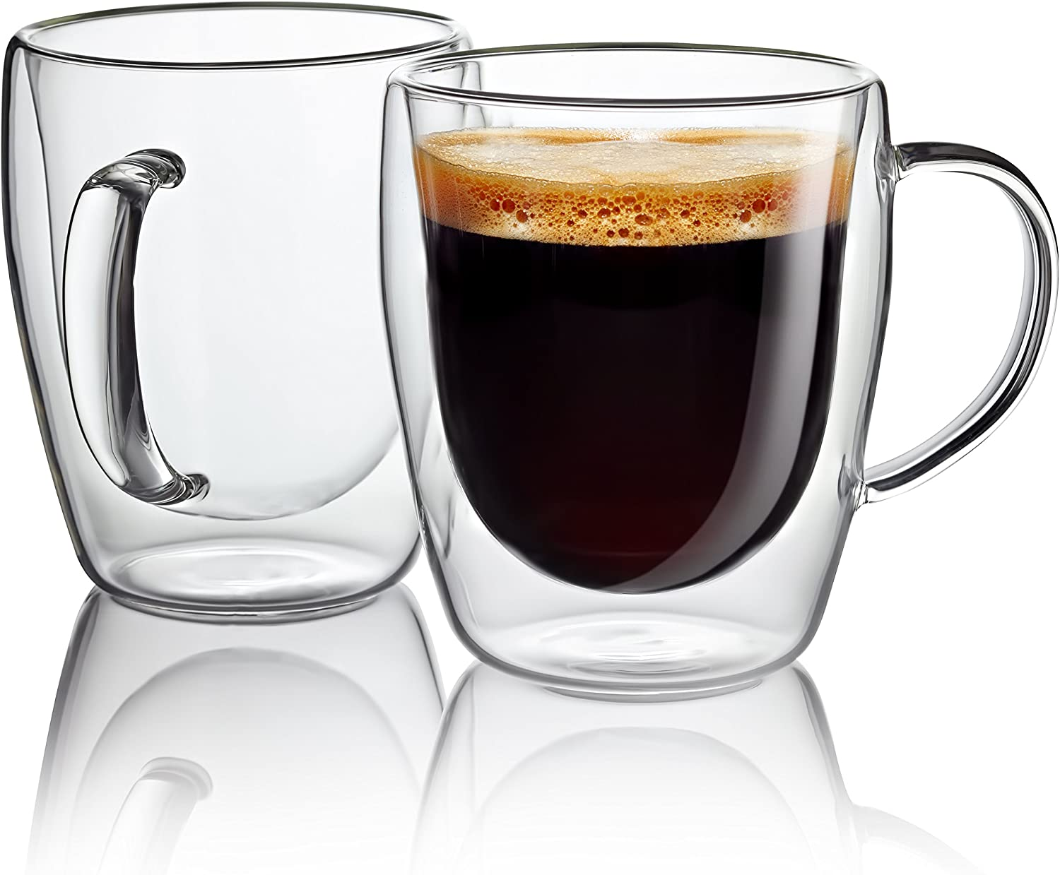 Glass coffee cup 300 ML double walled glass mugs espresso coffee cups. Dishwasher. Microwave, freezer with NO RISK Gift set of 2 Hand Blown