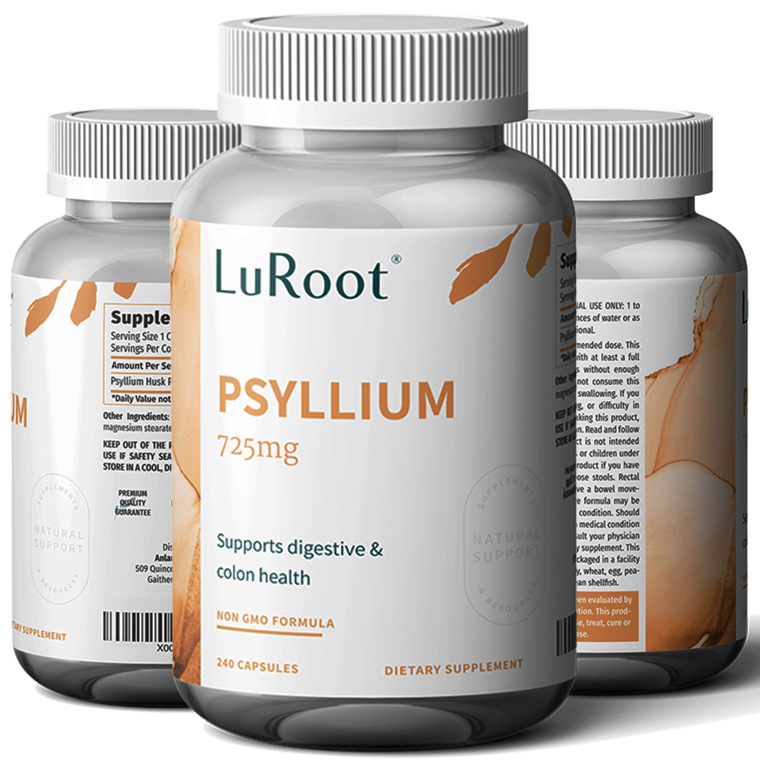 Psyllium Husk Seed Powder Capsules, 240 Capsules - 725 mg per Serving, Made with Organic Non-GMO & Gluten Free psyllium Husk - Soluble Fiber Supplement by LuRoot (Pack 1)