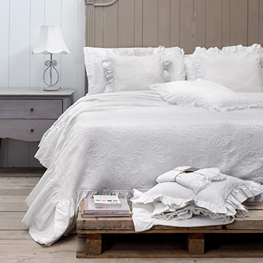 Couvre lit Jeté de lit Shabby Chic et Romantique - Jacquard Motif ...