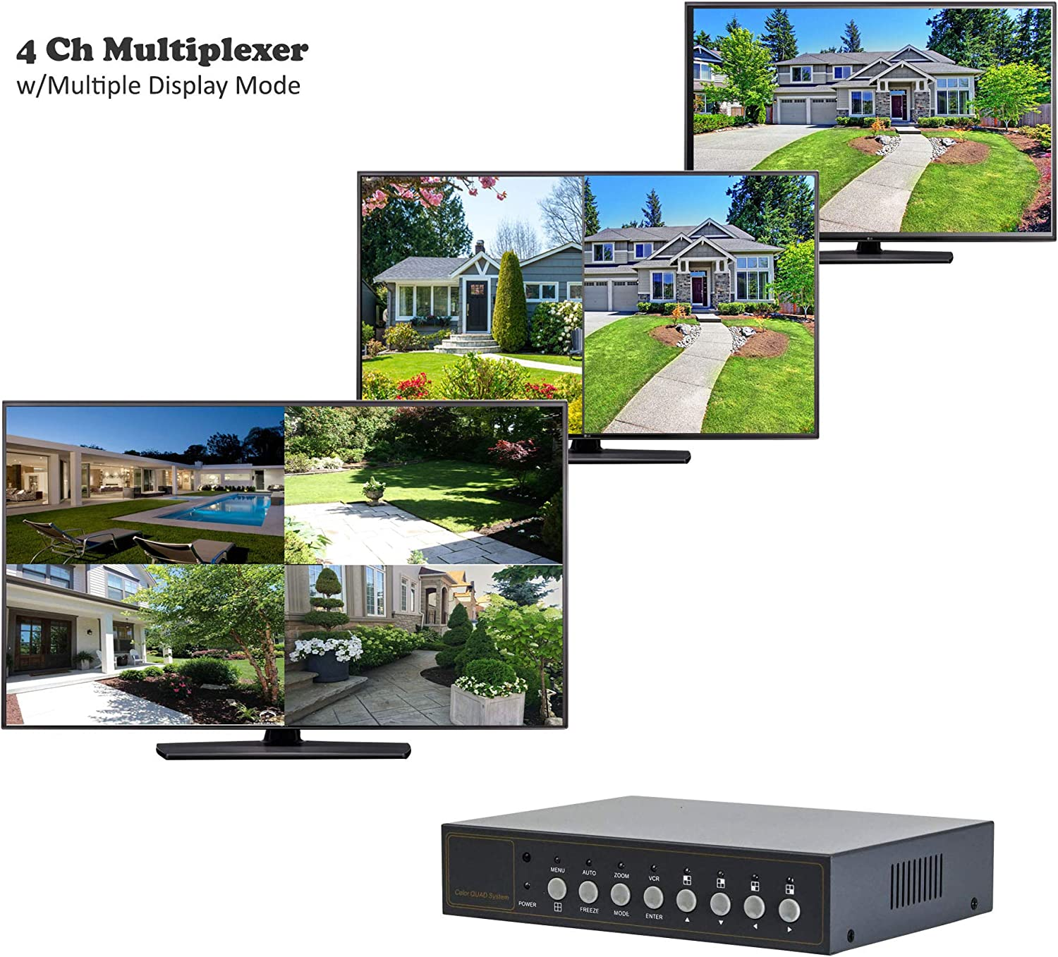 Video Quad Multiplexer 4CH 2 BNC Output with Remote Control and Free 1Amp Power Adapter