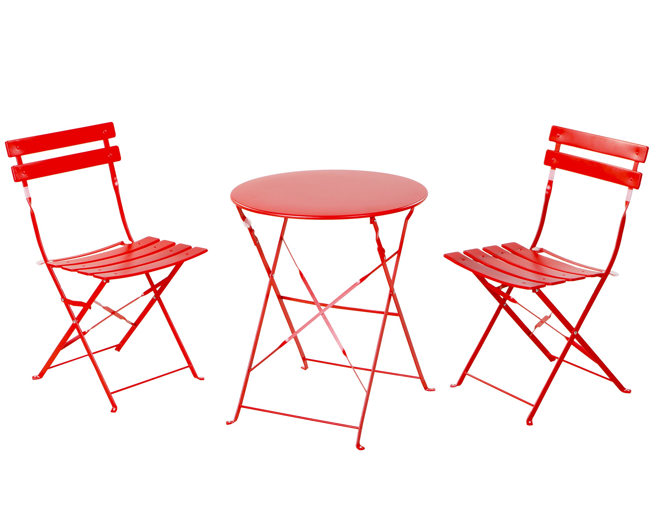 Grand patio Premium Steel Patio Bistro Set, Folding Outdoor Patio Furniture Sets, 3 Piece Patio Set of Foldable Patio Table and Chairs, Red by Grand patio