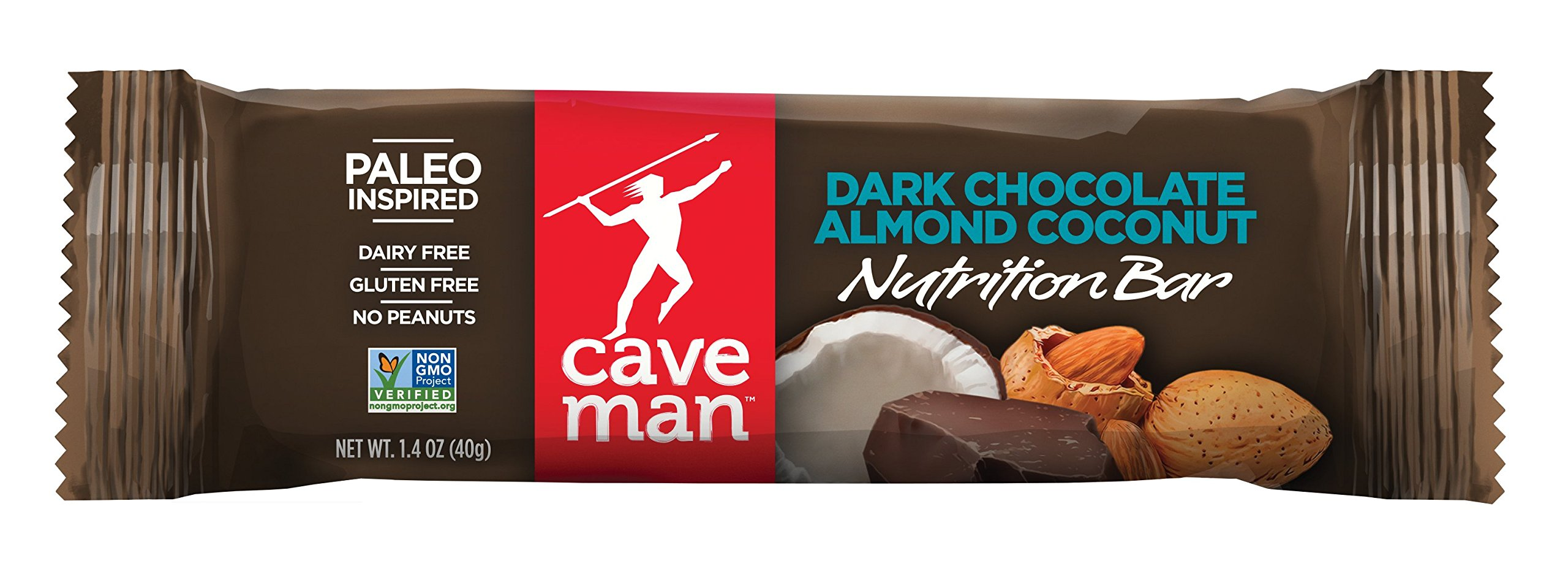 Caveman Foods Paleo-Friendly Nutrition Bar, Dark Chocolate Almond Coconut (Pack of 15)