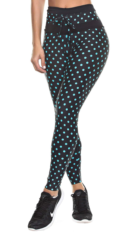 High Waist Polka Dots Black /& Blue Dunas Workout Legging