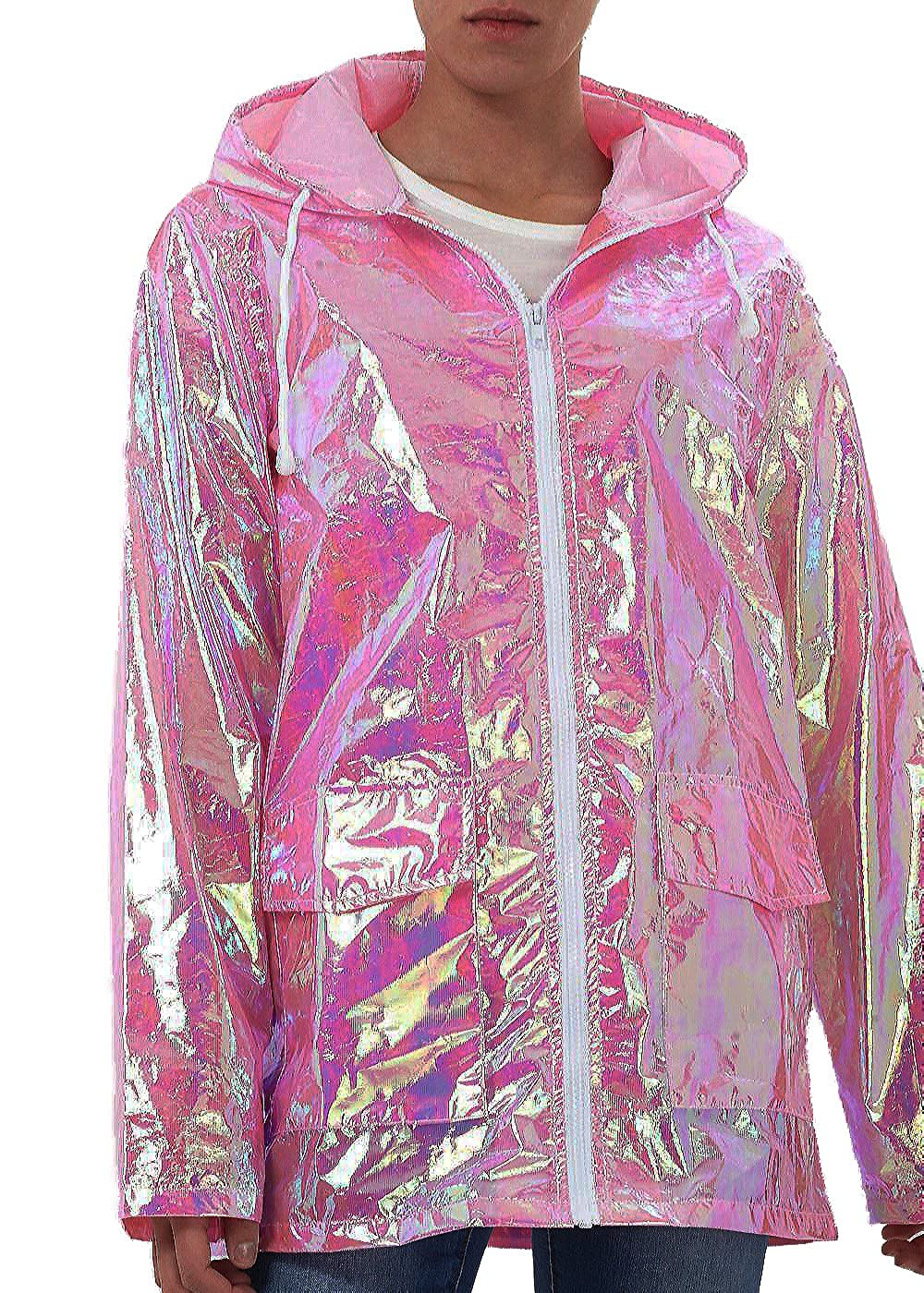 Fuchia boutique Women's Holographic Hooded Festival Rain Mac Light Weight Jacket Raincoat Pink