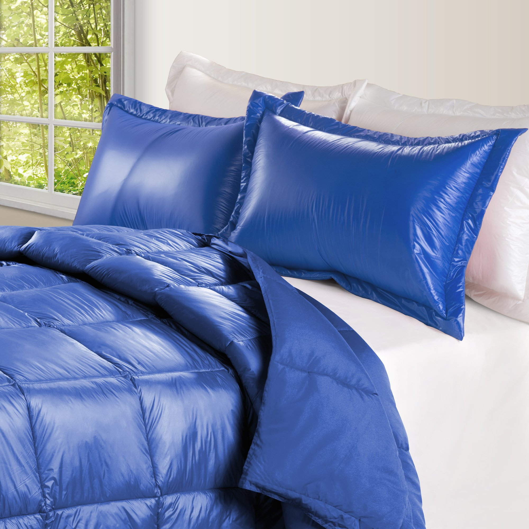 PUFF High Loft Down Indoor/Outdoor Water Resistant Comforter with Extra Strong Nylon Cover, King, Electric Blue